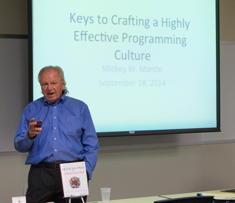"Co-author Mickey Mantle presenting ""Keys to Crafting a Highly Effective Programming Culture"" at the Engineering Leadership SIG of SVForum, September 2014."