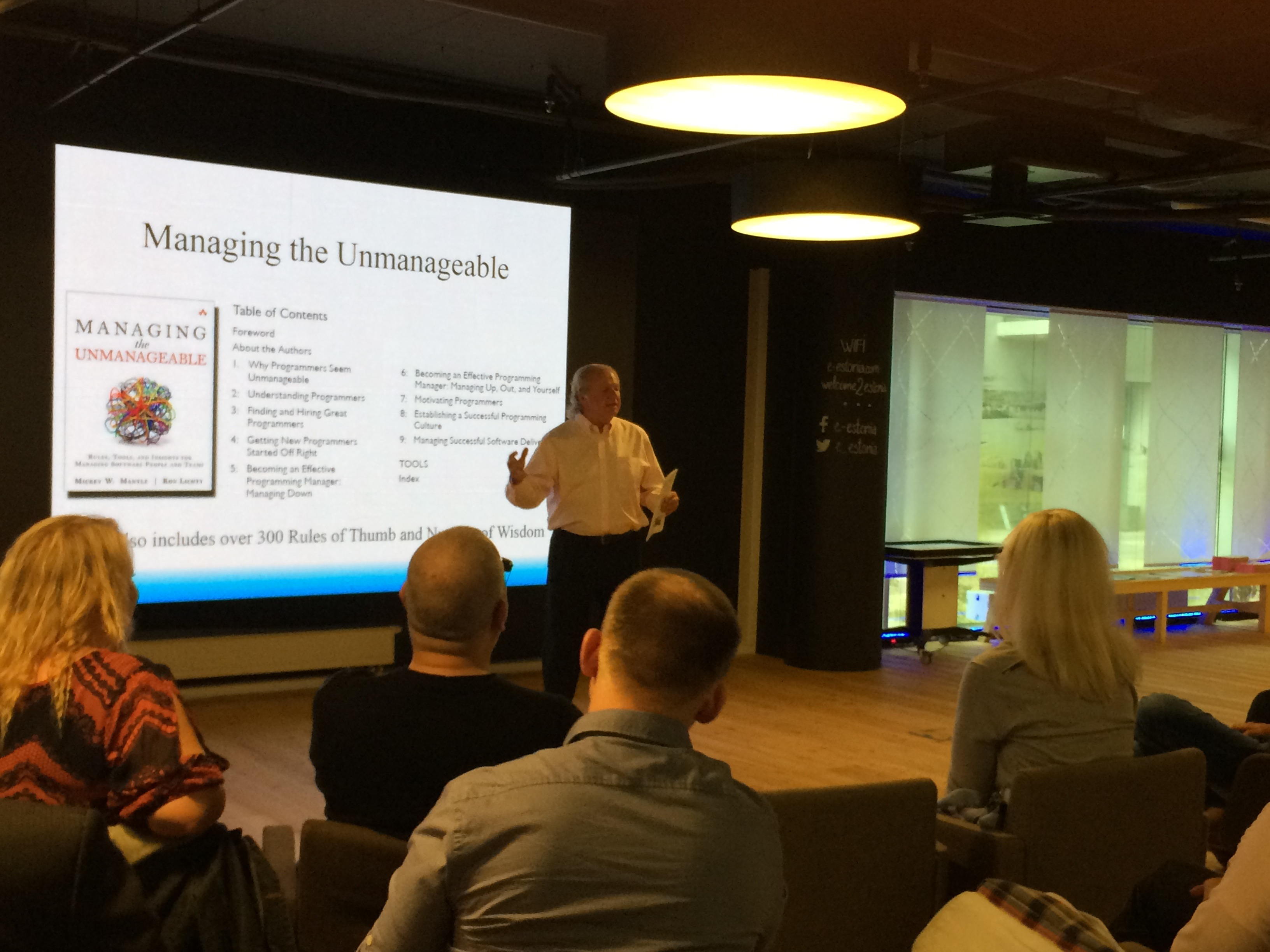 Co-author Mickey Mantle presenting Managing Using Rules of Thumb to the Estonian Association of IT, May 2015.