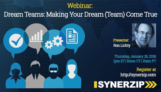 Synerzip webinar: Dream Teams: Making Your Dream (Team) Come True: by Ron on Thurs, Jan. 25, 2018 (also see Slidesets, below, for the slides)