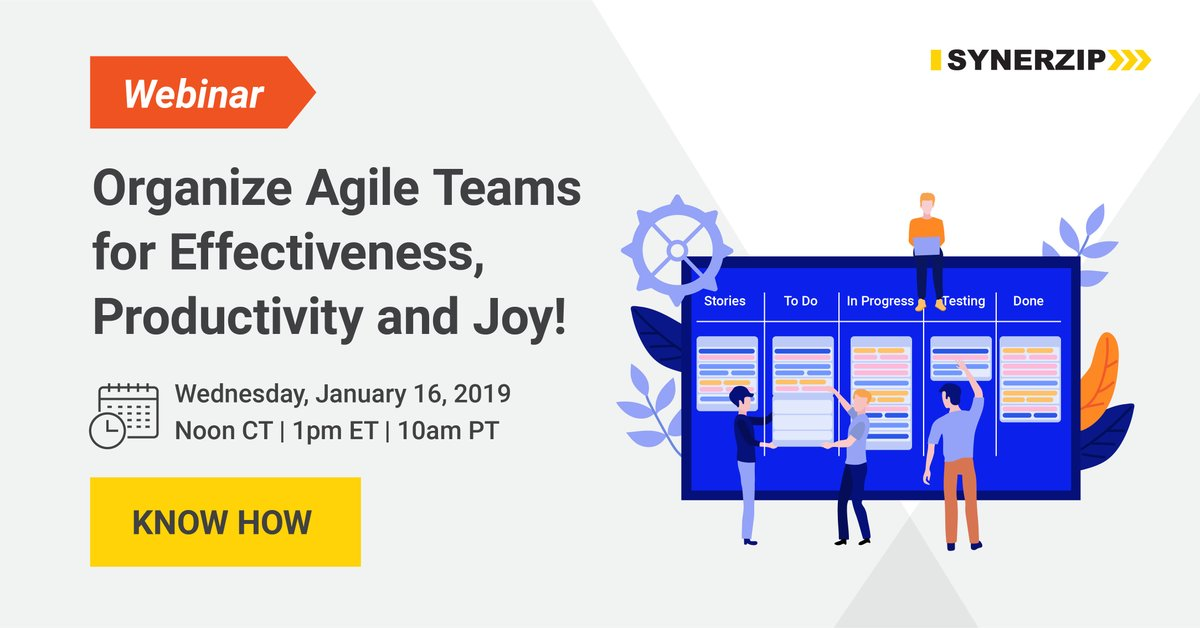 59 minutes: Synerzip webinar: Organizing & Scaling Agile Teams: by Ron on Wed, Jan. 16, 2019 (also see Slidesets, below, for the slides)