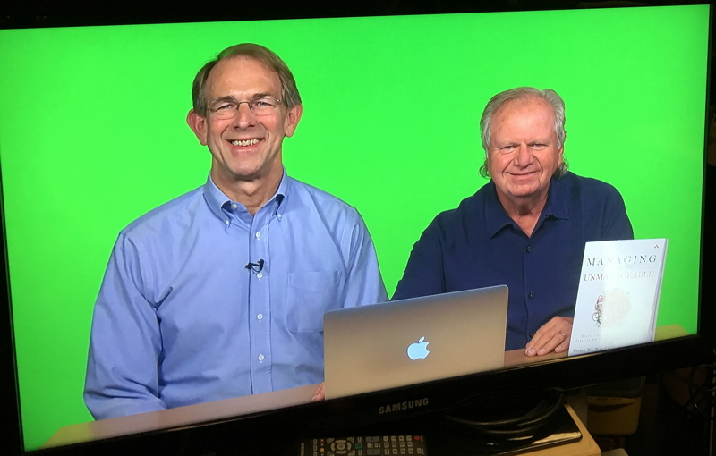 "Co-authors Ron Lichty and Mickey Mantle recording their video training, ""Managing Software People and Teams LiveLessons""."